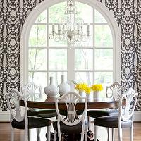 At Home in Arkansas - dining rooms - cherry, round, pedestal, dining table, white, black, cushions, shield back chairs, upholstered shield back chairs, white shield back chairs, white and black shield back chairs, Schumacher Chenonceau Wallpaper - Charcoal, Swedish Gustavian Shield Back Chairs,