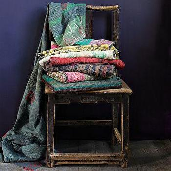 Kantha Quilted Throw, west elm