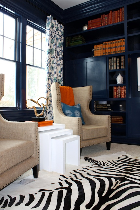 Porter Design Company - dens/libraries/offices - nesting tables, white nesting tables, zebra cowhide rug, high gloss cabinets, high gloss built ins, high gloss built in cabinets, navy blue cabinets, navy blue built in cabinets, navy cabinets, navy built ins, navy built in cabinets, linen chairs, linen wingback chairs, lacquer walls, navy lacquer walls, navy blue lacquer walls,