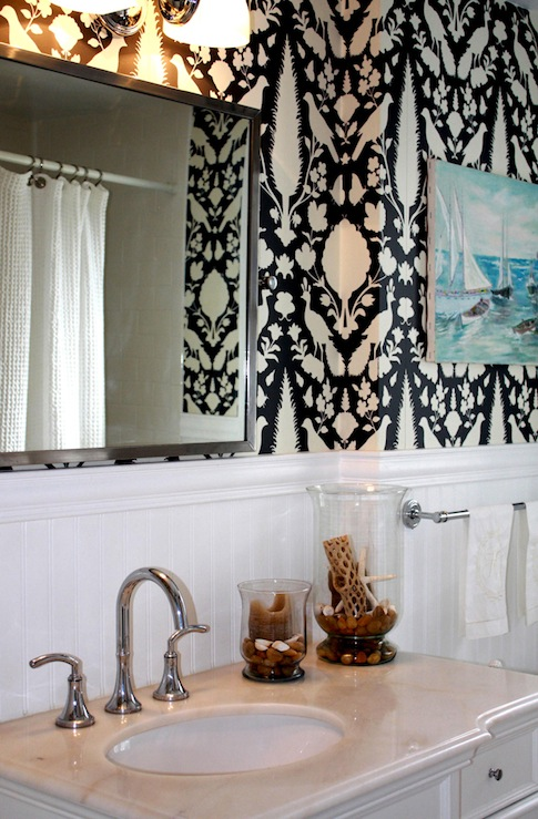 Chenonceau wallpaper transitional bathroom porter design company - Bathroom design company ...