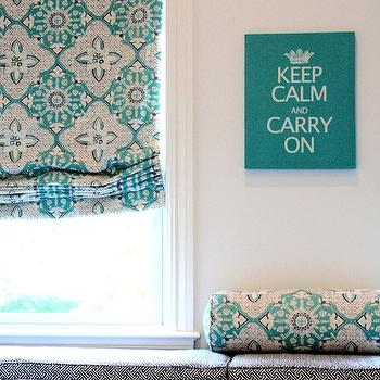 Porter Design Company - girl's rooms - Keep Calm and Carry On, turquoise accents, turquoise blue accents, window seat, kids window seat,  Adorable