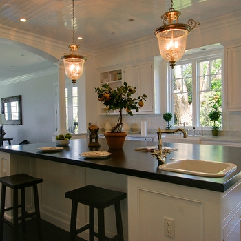 kitchens - beadboard ceiling, kitchen beadboard ceiling, beadboard ceiling in kitchen, glass lanterns, sawhorse stools, two tone countertops, two tone kitchen countertops, two tone counters,