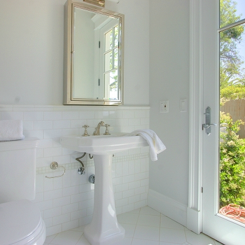 bathrooms - medicine cabinet, framed medicine cabinet, pedestal sink,  1143 Linda Flora  Amazing bathroom design with pale green walls paint