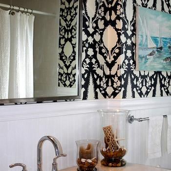 Porter Design Company - bathrooms - chenonceau wallpaper, charcoal chenonceau wallpaper, chenonceau charcoal wallpaper, wallpaper in bathroom, bathroom wallpaper, beadboard backsplash, bathroom beadboard, bathroom beadboard backsplash, Schumacher Chenonceau Wallpaper - Charcoal,