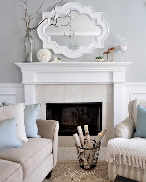 Centsational Girl - living rooms - Benjamin Moore - Tranquility - Casbah Mirror, tranquilty walls, wall color, gray, walls, fireplace, fireplace, wainscoting, beige, sofa, pillows, white, beige, striped, chair, casbah mirror, white casbah mirror,