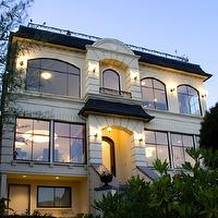 Paul Moon Design - home exteriors - modern, French, stucco, gray, shingles, slate tiles, steps,  Gorgeous modern French stucco home exterior