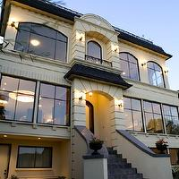 Paul Moon Design - home exteriors - modern, French, stucco, gray, shingles, slate, tiles, steps, juliet balcony,  Amazing modern French home