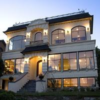 Paul Moon Design - home exteriors - modern, French, stucco, gray, shingles, slate tiles, steps,  This is what our dream home exterior will look