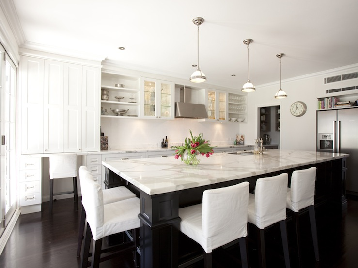 Slipcovered Counter Stools Transitional Kitchen Porchlight Interiors