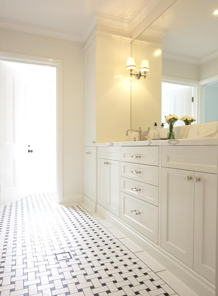 Basketweave Tiled Floor Transitional bathroom