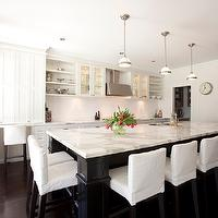 Porchlight Interiors - kitchens - two tone, sink in kitchen island, white, shaker, kitchen cabinets, ebony, black, kitchen island, calcutta gold, marble, countertops, white, slipcovered, counter stools, counter stools, slipcovered counter stools, slipcovered bar stools, slipcovered barstools, white counter stools, white slipcovered counter stools, white slipcovered bar stools, white slipcovered barstools, Restoration Hardware Clemson Pendant,