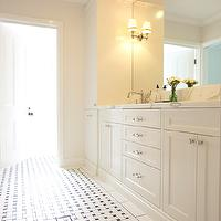 Beautiful bathroom design with basketweave tiles floor, creamy white shaker kitchen ...