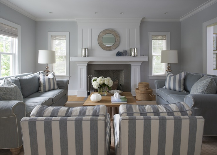 Lynn Morgan Design - living rooms - monochromatic, blue, gray, walls, blue, sofas, white, piping, white, blue, striped, chairs, blue, white, striped, pillows, maple, coffee table, slate, fireplace, chevron, herringbone, firebox, mirror, blue, gray, linen, roman shades, blue and gray living room, gray and blue living room, blue and gray room, gray and blue room,