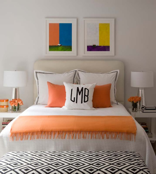Lynn Morgan Design - bedrooms - David Hicks La Fiorentina Fabric, West Elm Parson Table, parsons end table, parsons table, white parsons end table, white parsons table, parsons nightstand, white parson nightstand, cream headboard, orange throw, orange throw blanket, diamond bench, bedroom bench, bench at foot of bed,