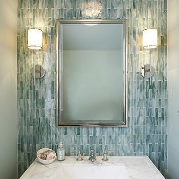 Turquoise Blue Glass Tile Backsplash Design Decor