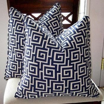 Pillows - Duralee Blueberry Greek Key Pillow Cover by trendypillows on Etsy - blue, greek key, pillows