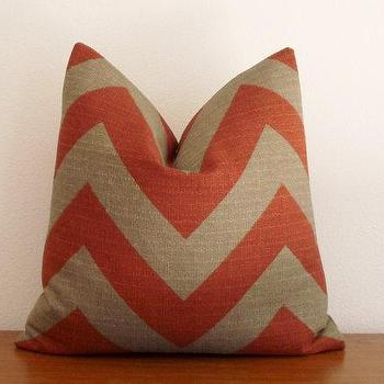 Pillows - Decorative Pillow Cover Chevron Zig Zag Rust Stone by kassapanola - red, beige, zigzag, pillow