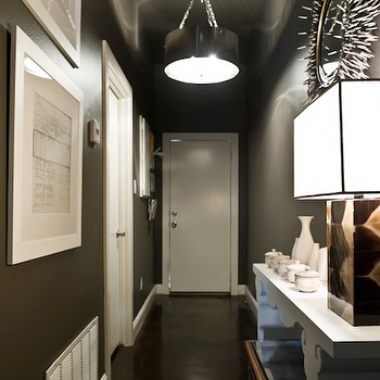 entrances/foyers - black and white porcupine mirror, porcupine mirror, porcupine quills mirror, quills mirror, long foyer, long foyer design, long foyer ideas, espresso walls, espresso wall paint, nickel drum pendant, Porcupine Mirror,