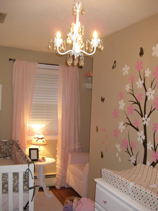 Pink Ruffled Curtains Traditional Nursery Behr Pecan