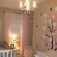 nurseries - pink, brown, butterflies, white crib, ruffle curtains, chandelier, beige walls, beige paint, beige paint color, beige nursery walls, beige nursery paint, beige nursery paint color,