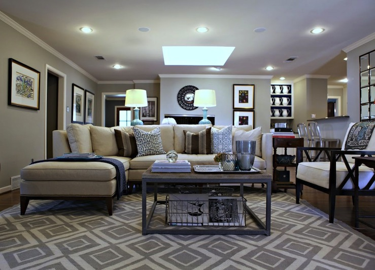 Suzie: Knight Moves - Beautiful living room design with gray Jonathan Adler Diamonds Rug, ivory ...