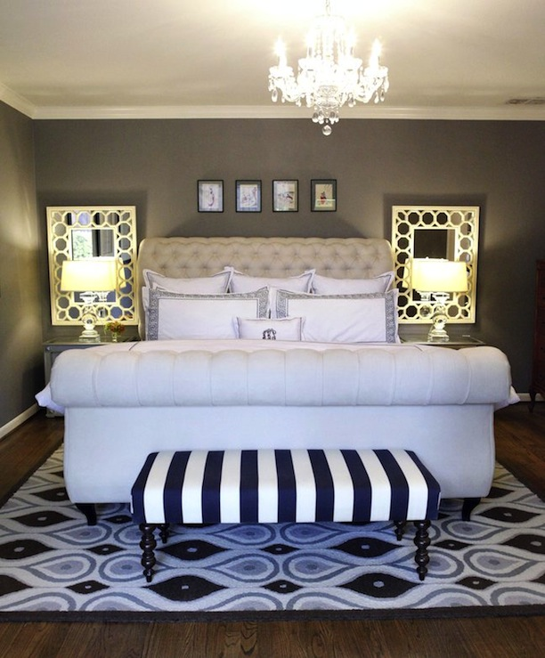 Knight Moves - bedrooms - Restoration Hardware - Slate - Z Gallerie Victoria Sleigh Bed, Restoration Hardware Crystal Banister Lamps,, sleigh bed, upholstered sleigh bed, velvet sleigh bed, velvet bed, tufted sleigh bed, ivory sleigh bed, mirrors over nightstands, striped bench, bedroom bench,