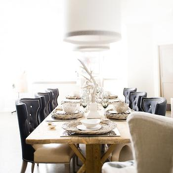 David Christensen Photography - dining rooms - dining chairs, tufted dining chair, leather dining chairs, leather tufted dining chair, black dining chair, black tufted dining chair, trestle dining table drum pendants, Lillian August Notting Hill Collection,