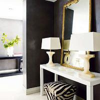 Nuevo Estilo - entrances/foyers - black, walls, alabaster, lamps, gold, ornate, mirror, white, glossy, Parsons, console, table, zebra, tapered, storage, ottoman, chanel lamps, chanel table lamps, alabaster lamps, alabaster chanel lamps,