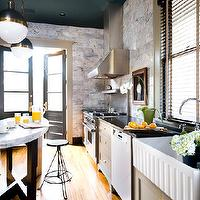 David Christensen Photography - kitchens - gray, kitchen cabinets, honed, black, granite, countertops, oval, kitchen island, marble, countertop, industrial stools, ribbed, farmhouse sink, polished nickel, goose neck, faucet, marble, backsplash, Thomas O'Brien Hicks Pendant,