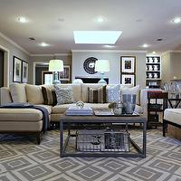 Knight Moves - living rooms - greek key, diamond rug, gray diamond rug, industrial coffee table, ivory sofa with chaise lounge, sofa with chaise lounge, skylight, living room skylight, skylight in living room, Jonathan Adler Diamonds Rug,