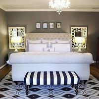 Knight Moves - bedrooms - gray, walls, Ballard Designs, mirror, Ballard Designs, white, blue, striped, simone, bench, Jonathan Adler, rug, Bombay Company, nightstands, Z Gallerie Victoria Sleigh Bed, Restoration Hardware Crystal Banister Lamps,