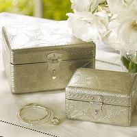 Decor/Accessories - Pressed Silver Jewelry Boxes, Set of 2 | Pottery Barn - pressed, silver, jewelry, box