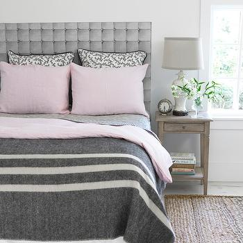 Country Living - bedrooms - bed, side table, gray and pink bedroom, gray headboard, gray velvet headboard, gray tufted headboard, gray velvet tufted headboard, pink pillows, gray blanket, gray washed nightstand, pink and gray bedding, Shams,