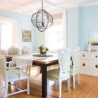 dining rooms - tables, chairs, chandelier,  love the mix of modern straight lines on table with tradtional curvy chairs painted white sonftens