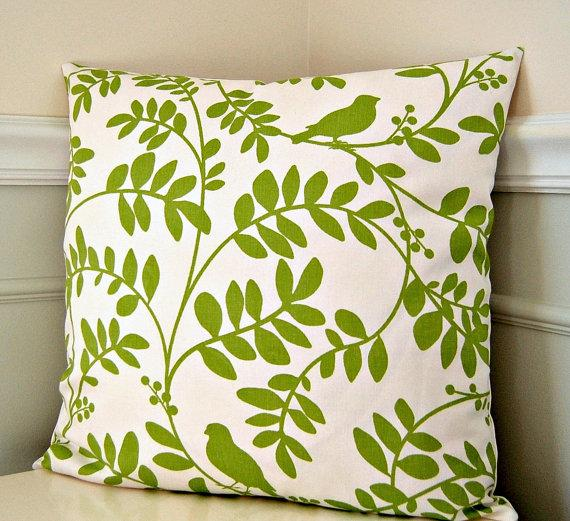 Decorative Pillow Cover Cream and Green Robert by cottagepixie