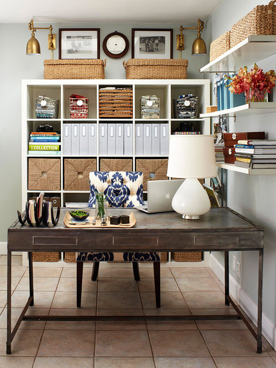dens/libraries/offices - desk office organization Ikea Expedit bookcases blue indigo ikat chair lamp shelves  desk