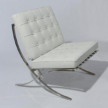 Seating - Barcelona Lounge Chair in White Leather Modern Accent | eBay - Barcelona Lounge Chair in White Leather Modern Accent