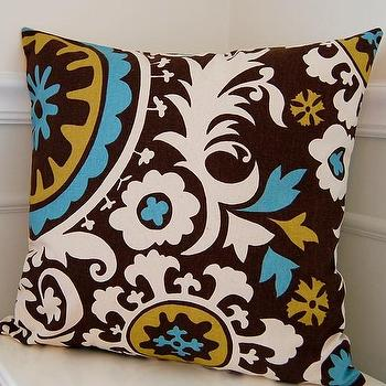 Pillows - Decorative Pillow Cover Suzani Chocolate Brown and by cottagepixie - yellow, blue, brown, pillow