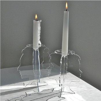 Supermarket, Profile Candleholders, set of 2 laser cut clear acrylic candle holders from Revisions Design Studio