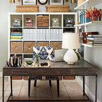 dens/libraries/offices: desk, office, organization, Ikea Expedit bookcases, blue, indigo, ikat, chair, lamp, shelves, ikea expedit, expedit bookcase, ikea expedit bookcase, white ikea bookcase, white ikea expedit bookcase,