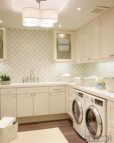 Suzie: House Beautiful  Gorgeous laundry room design with white Bosch washer & dryer, white ...