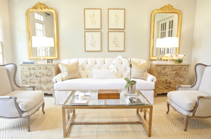 Glass And Brass Coffee Table French Living Room