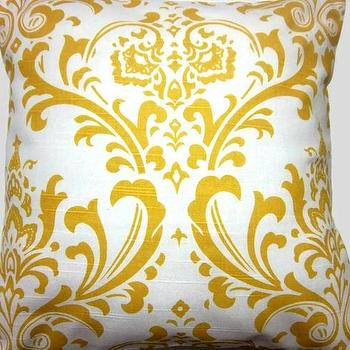 Two Yellow White Pillow Covers Handmade by LynnesThisandThat