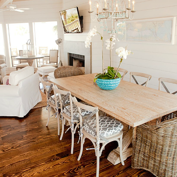 Munger Interiors - dining rooms - trestle table, trestle dining table, salvaged wood dining table, salvaged wood trestle dining table, french cafe dining chairs, wicker dining chairs, wicker captain chairs, wicker captain dining chairs, , Pottery Barn Torrey Dining Armchair,