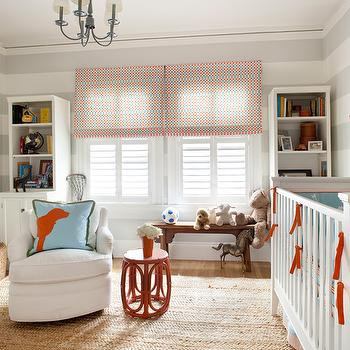 Anyon Interior Design - nurseries - grey and orange nursery, grey and orange nursery design,  Adorable grey and orange nursery design with white