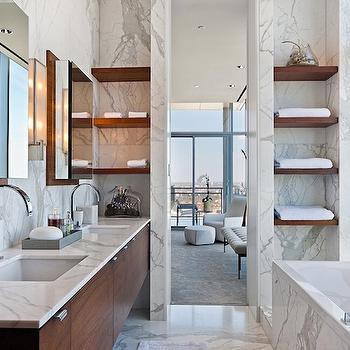 More Design Build - bathrooms - floating shelves, floating vanity, floating bathroom vanity, modern floating vanity, modern floating bathroom vanity, floating double vanity, floating double bathroom vanity, gooseneck faucets, gooseneck bathroom faucets, ensuite bathroom, floating bathroom shelves,