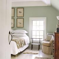bedrooms - Benjamin Moore - Guilford Green - Area Rug, Walls, ceramic Tile, Flooring, seafoam green paint, seafoam green walls,  Inspiration
