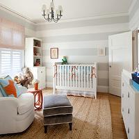 Anyon Interior Design - nurseries - polka dot, window panels, red accent table, striped nursery, striped nursery walls, gray striped walls, gray striped nursery, gray striped nursery walls, white and gray striped walls, white and gray striped nursery, white and gray striped nursery walls,