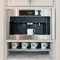 More Design Build - kitchens - built-in, coffee station, miele, coffee maker, monogrammed, mugs, marble, countertop, Anthropologie Monogrammed Mug,