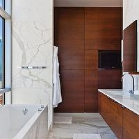 More Design Build - bathrooms - modern, city, cherry, double, floating cabinets, marble, counter tops, backsplash, polished nickel, faucets,